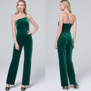 WHBM Velvet one-shoulder jumpsuit green rhinestone